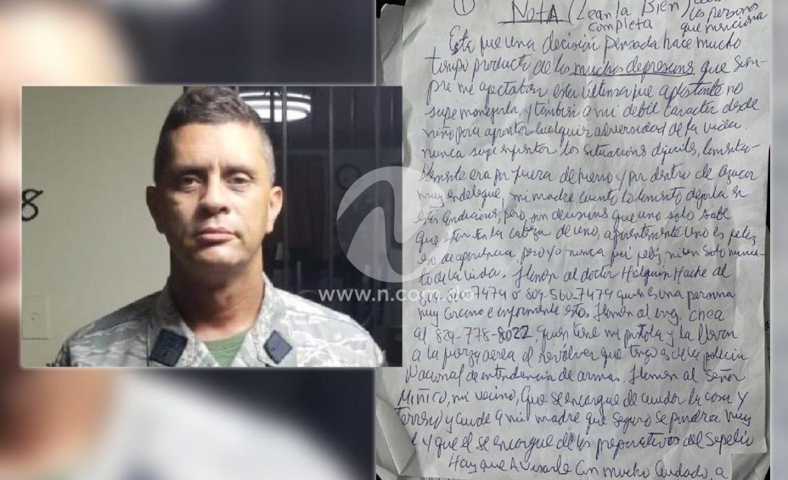 Aquí la supuesta carta dejada por el coronel encontrado con un disparo en la cabeza en su vehículo.